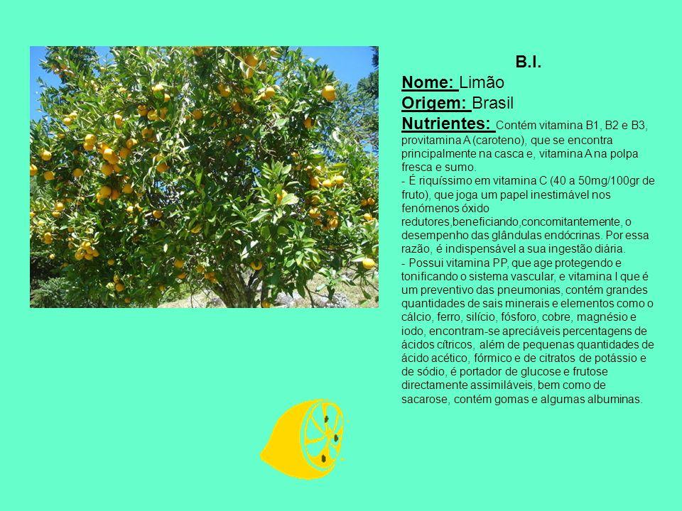 B.I. Nome: Limão Origem: Brasil Nutrientes: Contém vitamina B1, B2 e B3, provitamina A (caroteno), que se encontra principalmente na casca e, vitamina