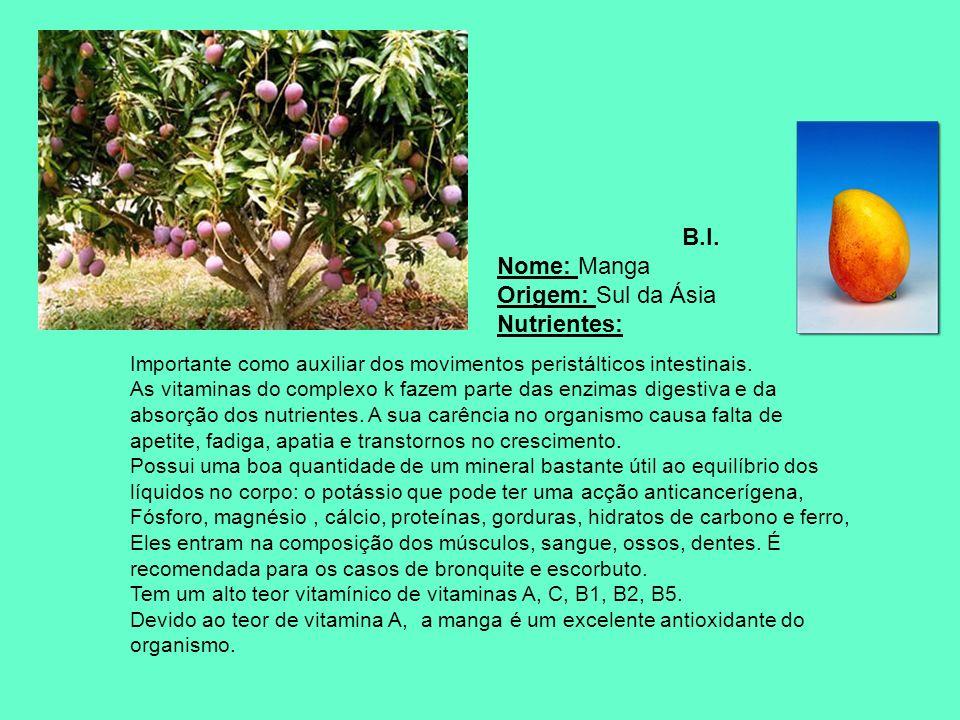 B.I. Nome: Manga Origem: Sul da Ásia Nutrientes: Importante como auxiliar dos movimentos peristálticos intestinais. As vitaminas do complexo k fazem p