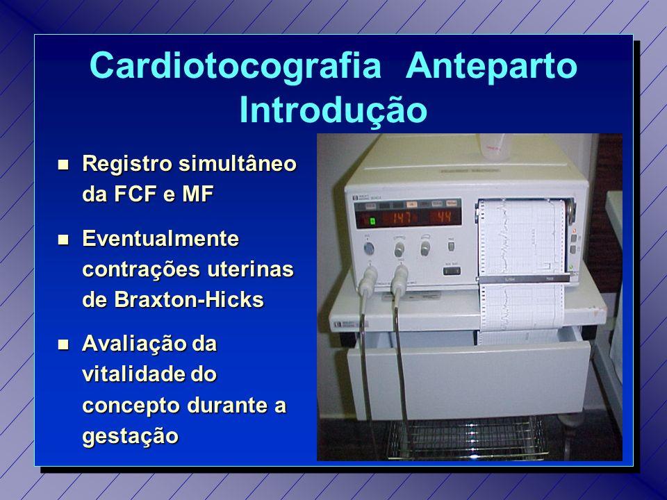 Cardiotocografia Anteparto Índice cardiotocométrico ParâmetroNormalPontuação Linha de Base 120 a 160 bpm 01 Variabilidade 10 a 25 bpm 01 Aceleração Transitória 01 02 DesaceleraçãoNenhuma 01
