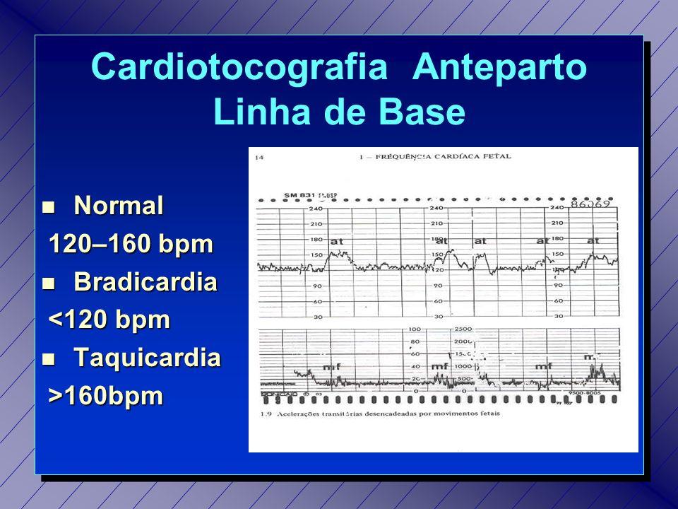 Cariotocografia Anteparto Variabilidade da FCF n Normal: amplitude de 10 a 25 bpm n Diminuída (padrão comprimido): < 10bpm n Aumentada: > 25 bpm n Padrão Sinusoidal: 5 a 15 bpm (monótonas)