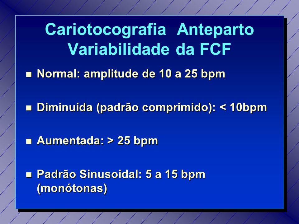Cardiotocografia Anteparto Teste da Estimulação Sônica Indicação: nas anormalidades detectadas na CTR.
