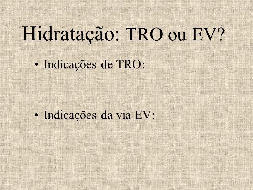 Hidratação: TRO ou EV? Indicações de TRO: Indicações da via EV: