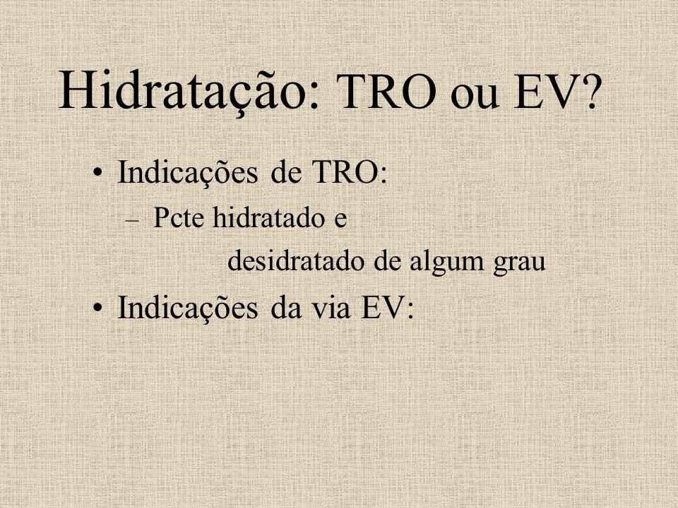 Hidratação: TRO ou EV? Indicações de TRO: – Pcte hidratado e desidratado de algum grau Indicações da via EV: