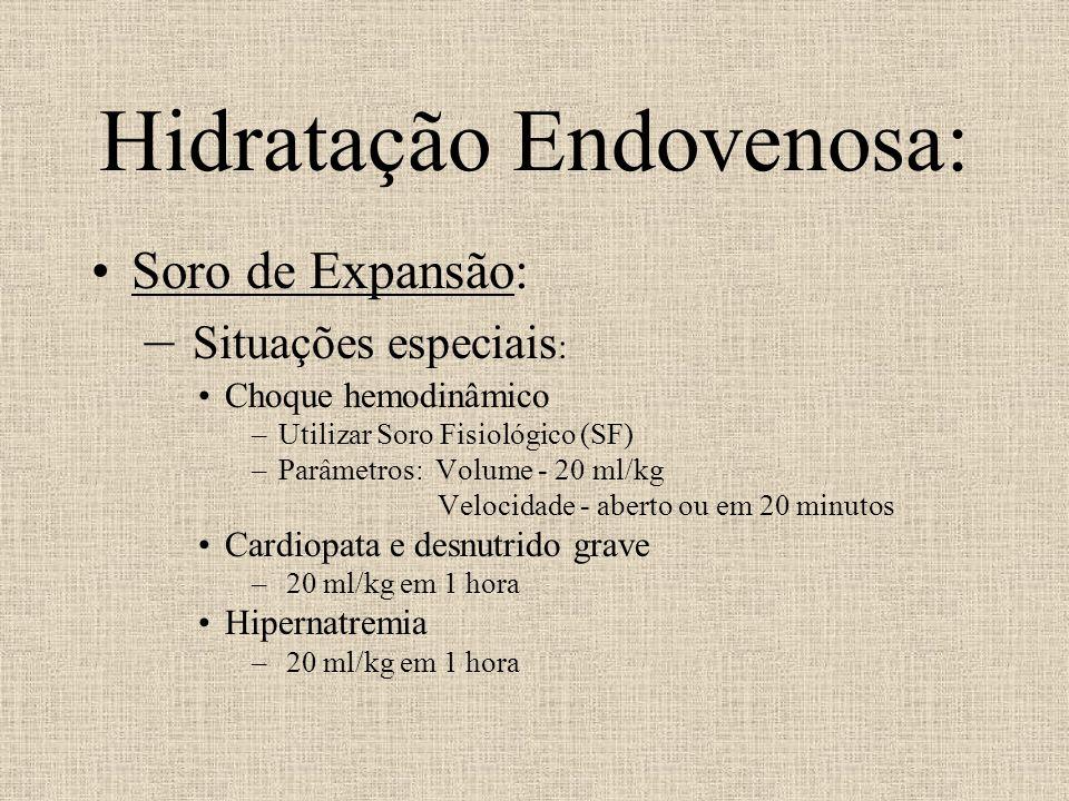 Hidratação Endovenosa: Soro de Expansão: – Situações especiais : Choque hemodinâmico –Utilizar Soro Fisiológico (SF) –Parâmetros: Volume - 20 ml/kg Ve