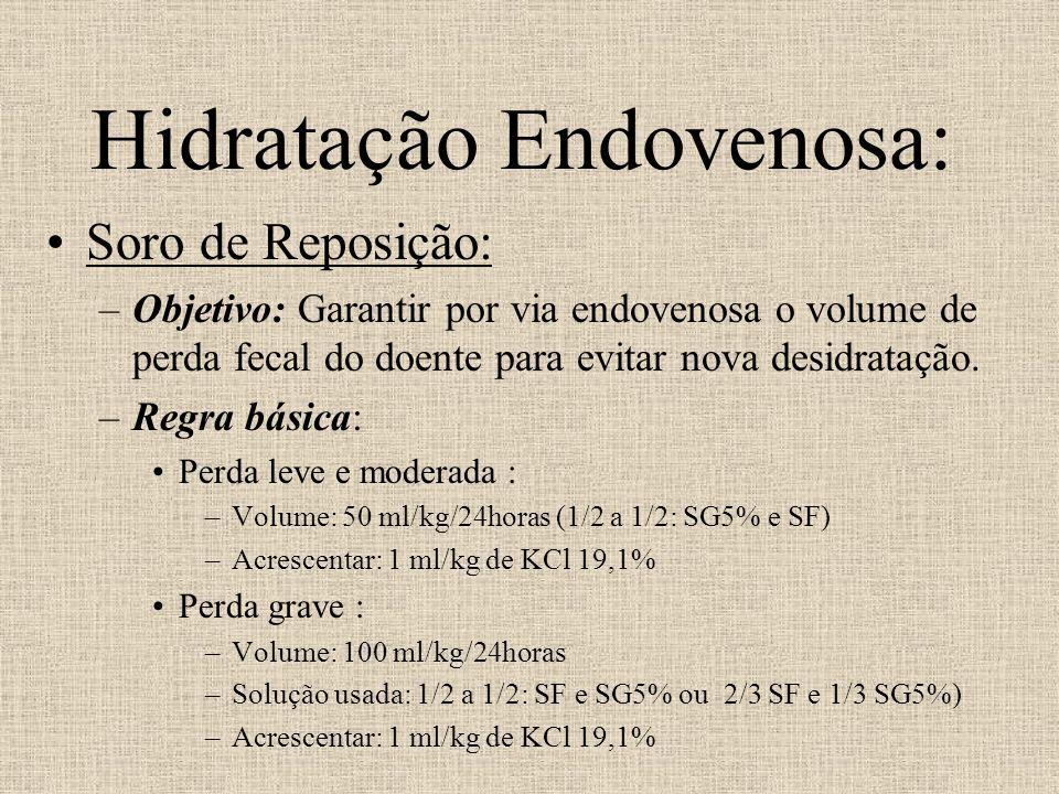 Hidratação Endovenosa: Soro de Reposição: –Objetivo: Garantir por via endovenosa o volume de perda fecal do doente para evitar nova desidratação. –Reg