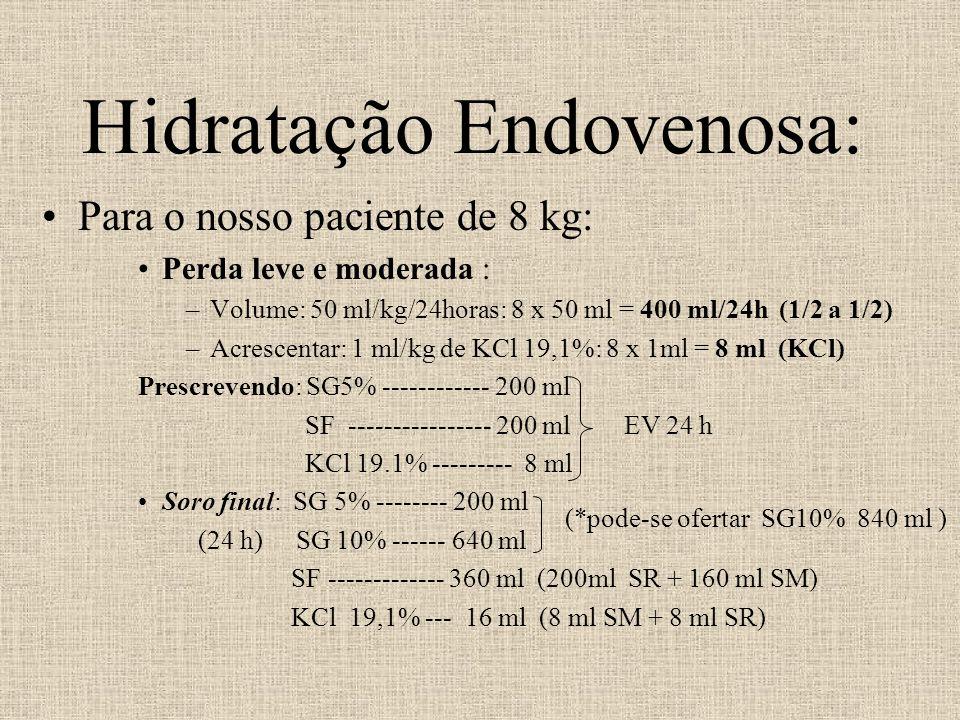 Hidratação Endovenosa: Para o nosso paciente de 8 kg: Perda leve e moderada : –Volume: 50 ml/kg/24horas: 8 x 50 ml = 400 ml/24h (1/2 a 1/2) –Acrescent