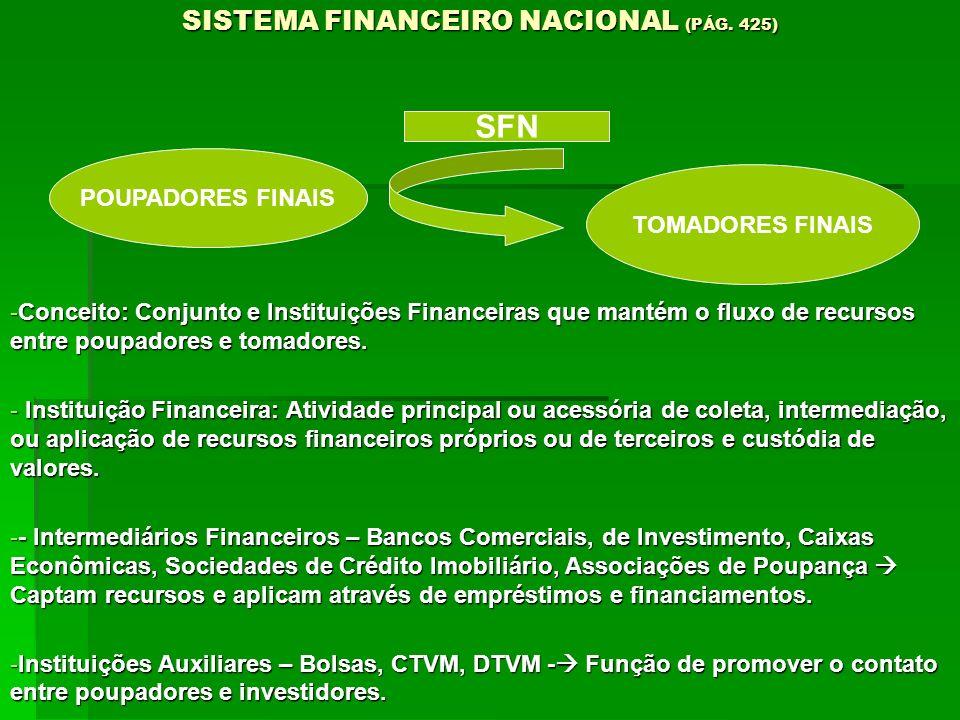 SISTEMA FINANCEIRO NACIONAL (PÁG. 425) -Conceito: Conjunto e Instituições Financeiras que mantém o fluxo de recursos entre poupadores e tomadores. - I