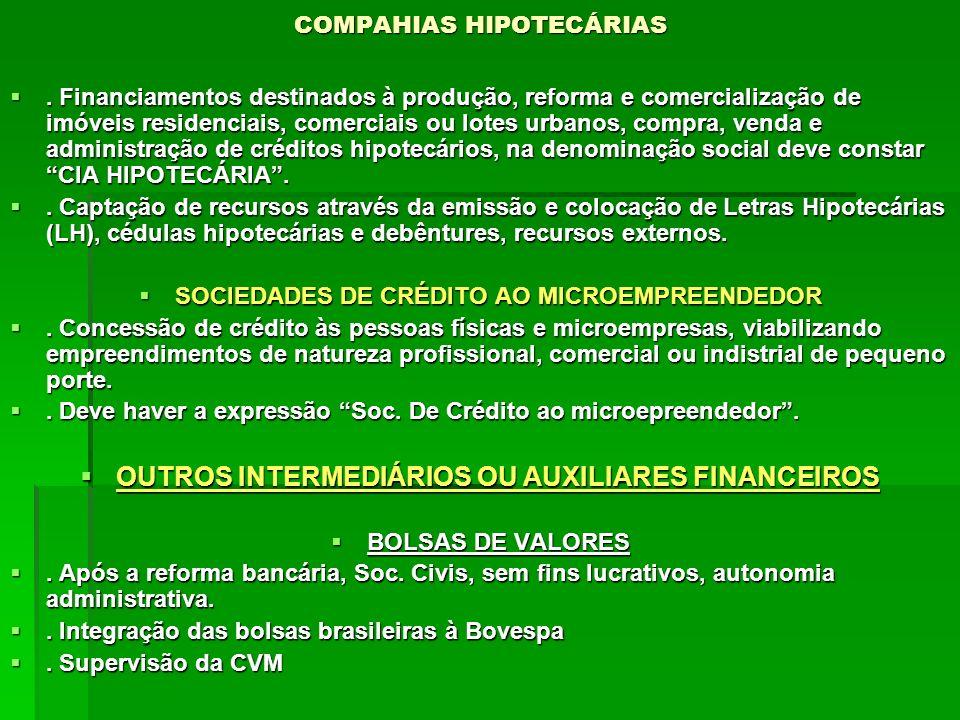 COMPAHIAS HIPOTECÁRIAS. Financiamentos destinados à produção, reforma e comercialização de imóveis residenciais, comerciais ou lotes urbanos, compra,