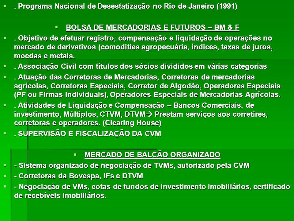 . Programa Nacional de Desestatização no Rio de Janeiro (1991). Programa Nacional de Desestatização no Rio de Janeiro (1991) BOLSA DE MERCADORIAS E FU