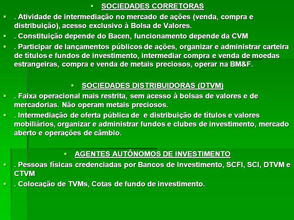 SOCIEDADES CORRETORAS SOCIEDADES CORRETORAS. Atividade de intermediação no mercado de ações (venda, compra e distribuição), acesso exclusivo à Bolsa d
