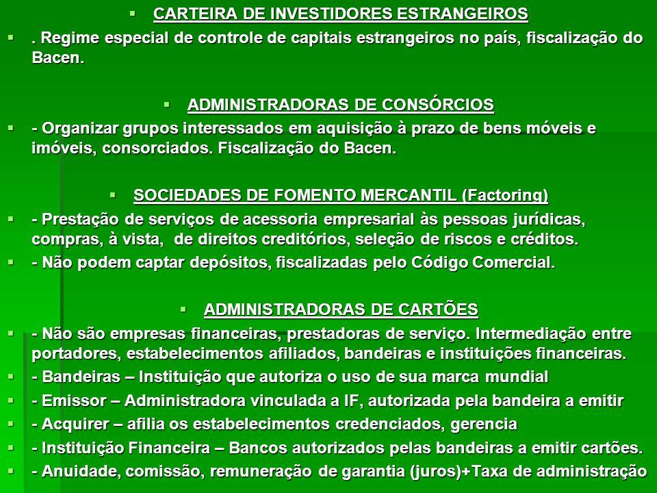 CARTEIRA DE INVESTIDORES ESTRANGEIROS CARTEIRA DE INVESTIDORES ESTRANGEIROS. Regime especial de controle de capitais estrangeiros no país, fiscalizaçã