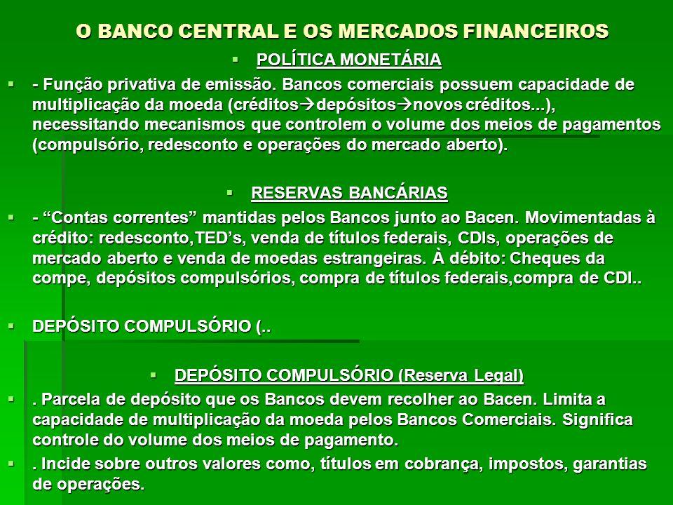 O BANCO CENTRAL E OS MERCADOS FINANCEIROS POLÍTICA MONETÁRIA POLÍTICA MONETÁRIA - Função privativa de emissão. Bancos comerciais possuem capacidade de