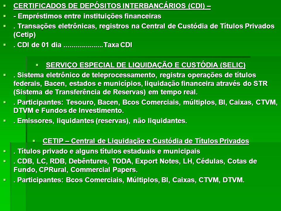 CERTIFICADOS DE DEPÓSITOS INTERBANCÁRIOS (CDI) – CERTIFICADOS DE DEPÓSITOS INTERBANCÁRIOS (CDI) – - Empréstimos entre instituições financeiras - Empré
