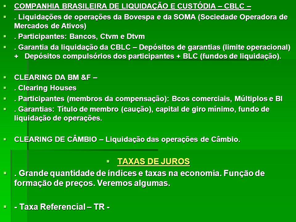 COMPANHIA BRASILEIRA DE LIQUIDAÇÃO E CUSTÓDIA – CBLC – COMPANHIA BRASILEIRA DE LIQUIDAÇÃO E CUSTÓDIA – CBLC –. Liquidações de operações da Bovespa e d
