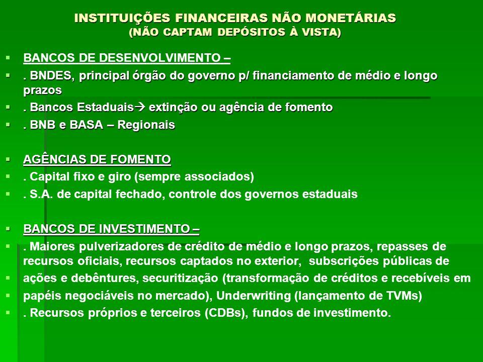 INSTITUIÇÕES FINANCEIRAS NÃO MONETÁRIAS (NÃO CAPTAM DEPÓSITOS À VISTA) BANCOS DE DESENVOLVIMENTO –. BNDES, principal órgão do governo p/ financiamento