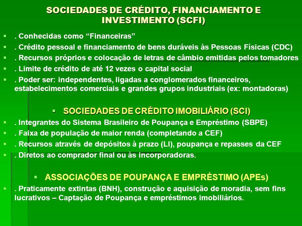 SOCIEDADES DE CRÉDITO, FINANCIAMENTO E INVESTIMENTO (SCFI). Conhecidas como Financeiras. Crédito pessoal e financiamento de bens duráveis às Pessoas F