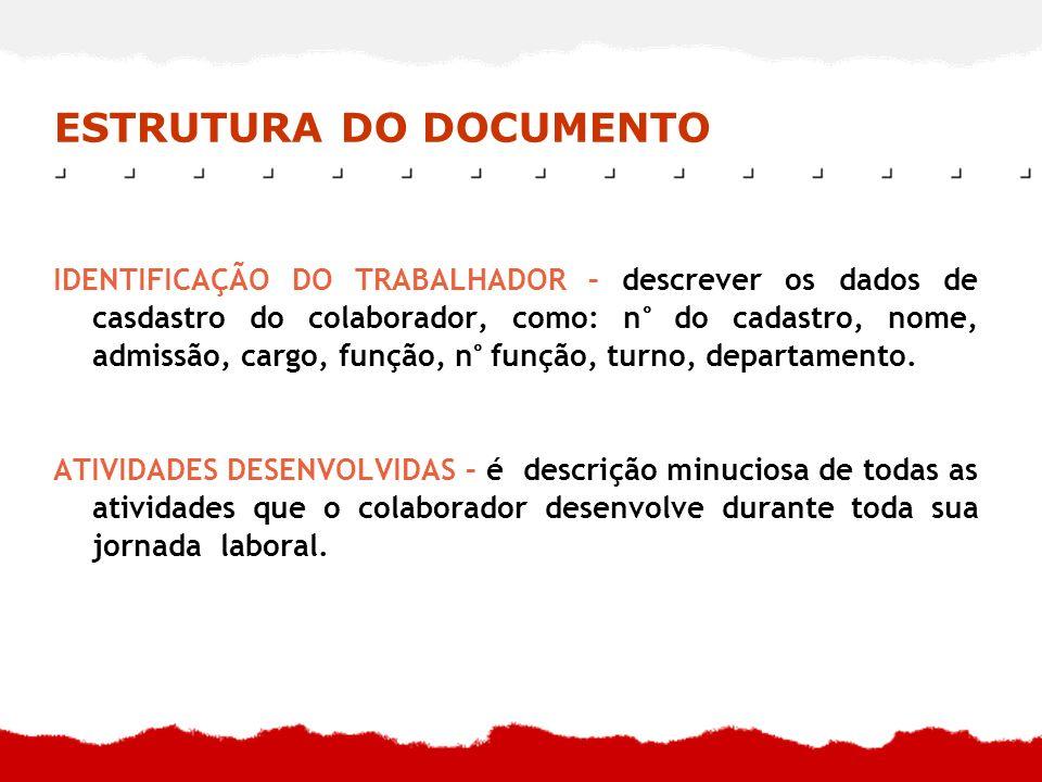 ESTRUTURA DO DOCUMENTO IDENTIFICAÇÃO DO TRABALHADOR – descrever os dados de casdastro do colaborador, como: n° do cadastro, nome, admissão, cargo, fun