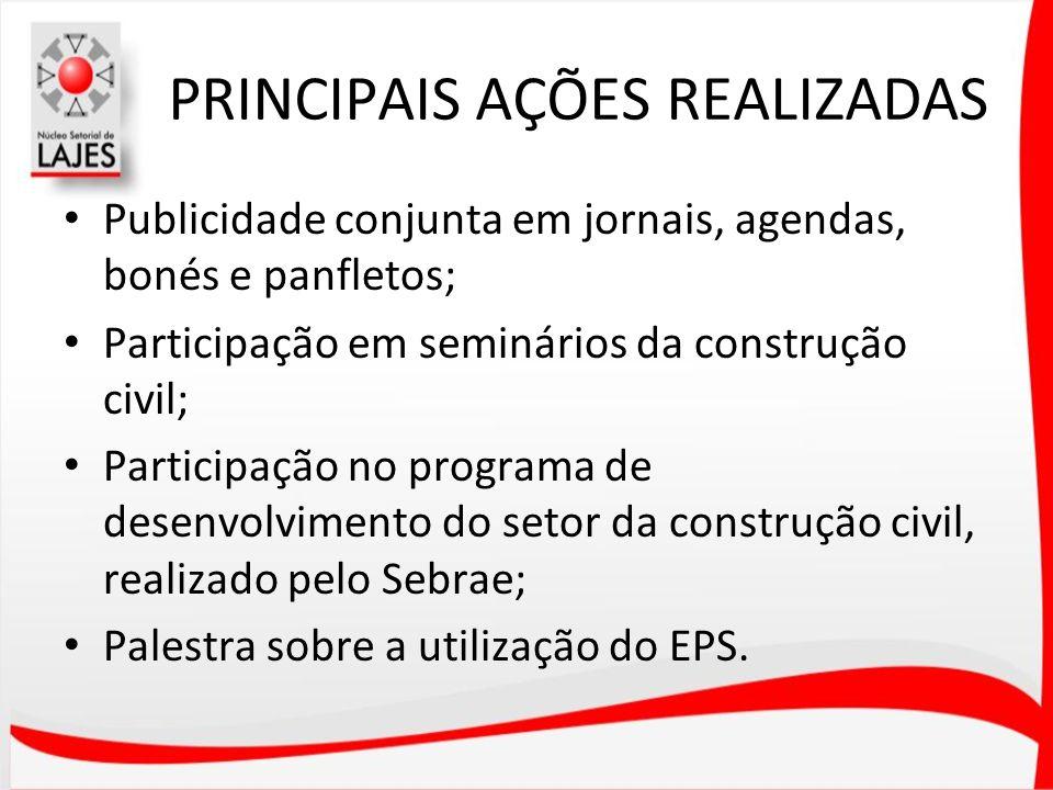 PRINCIPAIS AÇÕES REALIZADAS Publicidade conjunta em jornais, agendas, bonés e panfletos; Participação em seminários da construção civil; Participação