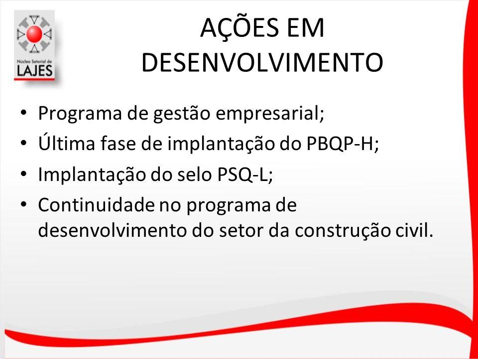 AÇÕES EM DESENVOLVIMENTO Programa de gestão empresarial; Última fase de implantação do PBQP-H; Implantação do selo PSQ-L; Continuidade no programa de
