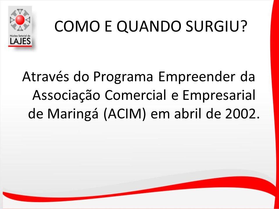 COMO E QUANDO SURGIU? Através do Programa Empreender da Associação Comercial e Empresarial de Maringá (ACIM) em abril de 2002.
