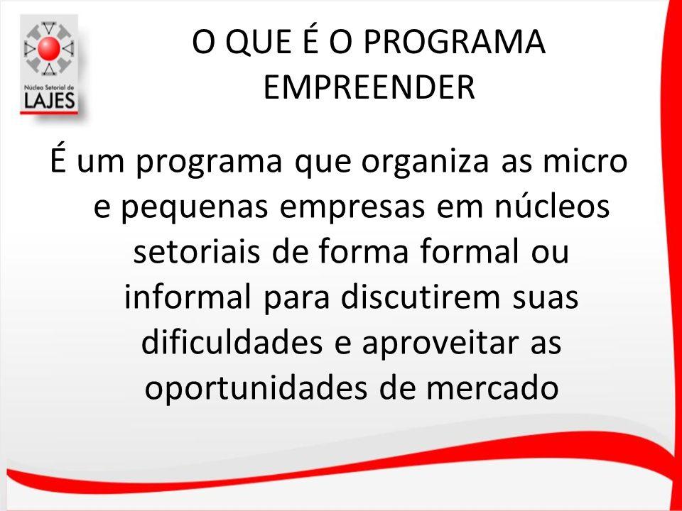 O QUE É O PROGRAMA EMPREENDER É um programa que organiza as micro e pequenas empresas em núcleos setoriais de forma formal ou informal para discutirem