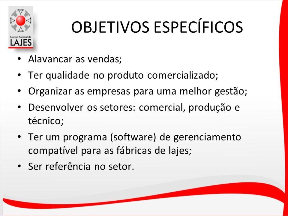 OBJETIVOS ESPECÍFICOS Alavancar as vendas; Ter qualidade no produto comercializado; Organizar as empresas para uma melhor gestão; Desenvolver os setor