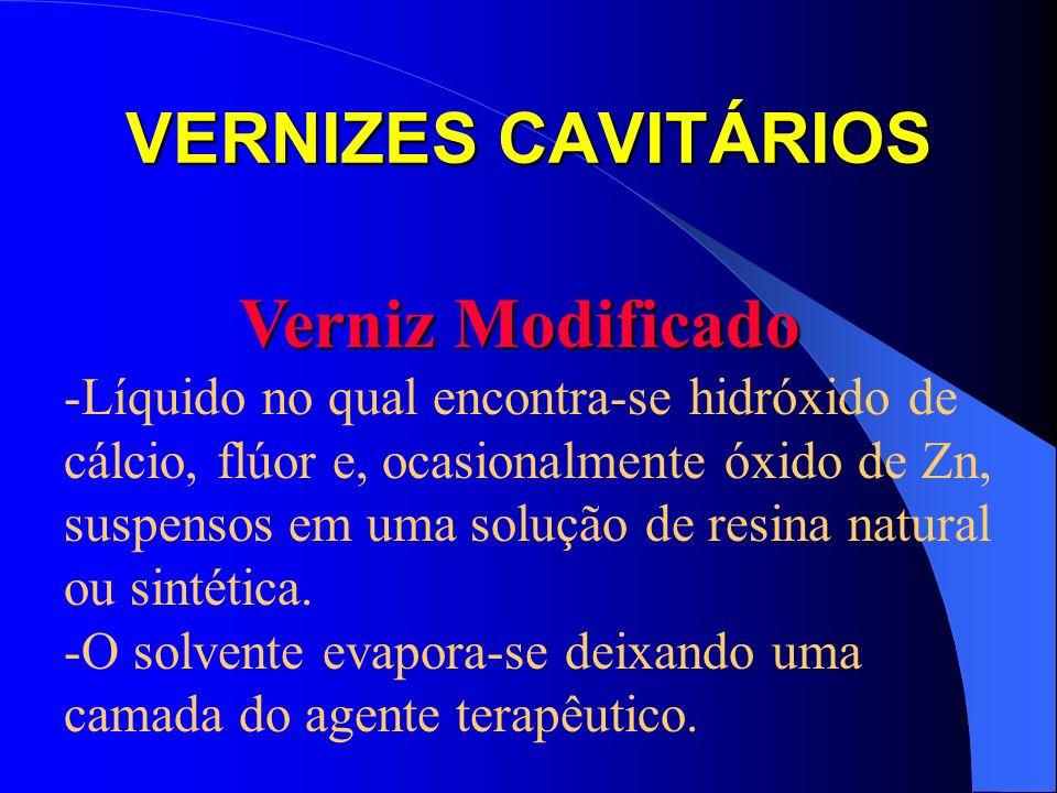 VERNIZES CAVITÁRIOS Verniz Modificado Verniz Modificado -Líquido no qual encontra-se hidróxido de cálcio, flúor e, ocasionalmente óxido de Zn, suspens