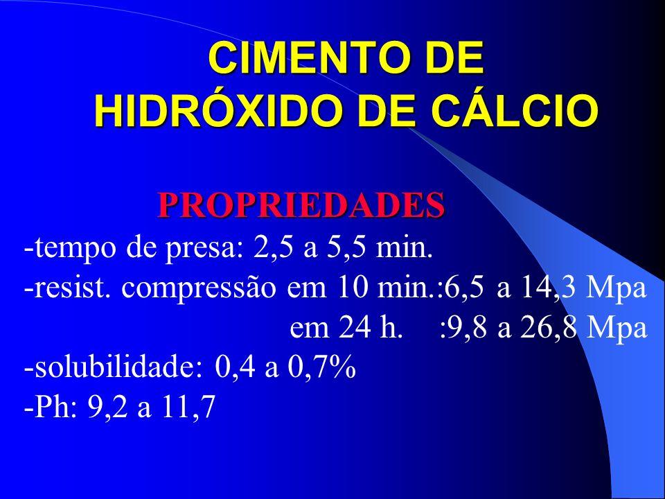CIMENTO DE HIDRÓXIDO DE CÁLCIO PROPRIEDADES -tempo de presa: 2,5 a 5,5 min. -resist. compressão em 10 min.:6,5 a 14,3 Mpa em 24 h. :9,8 a 26,8 Mpa -so
