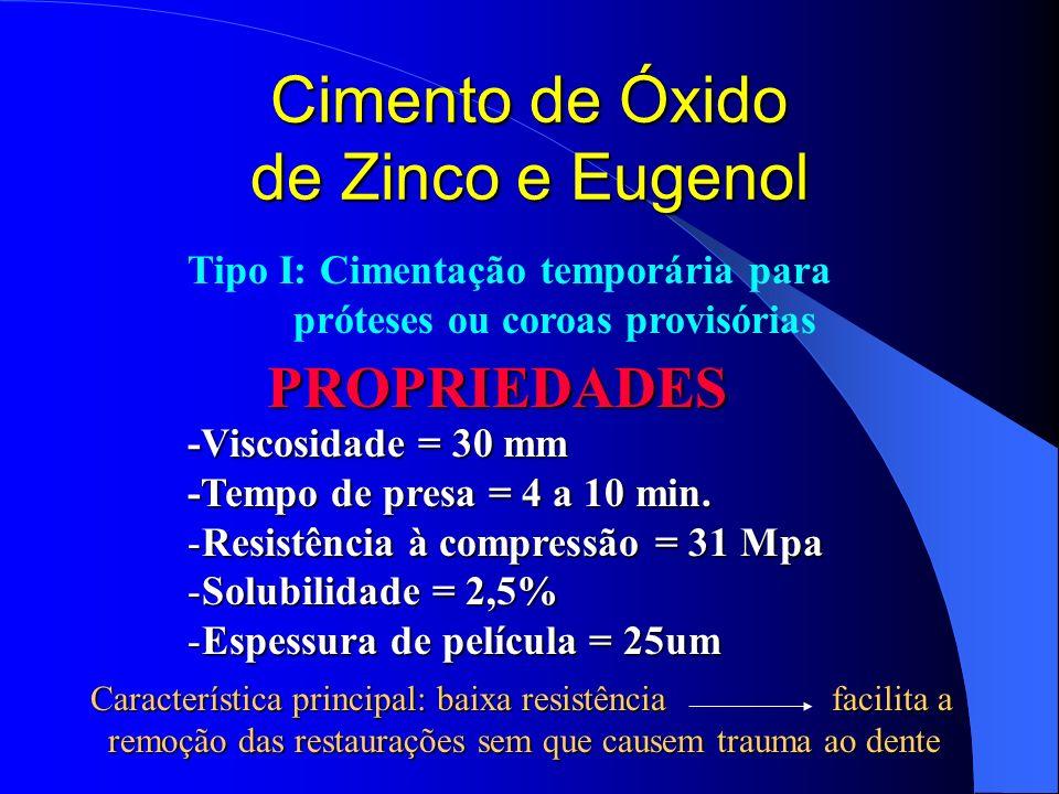 Cimento de Óxido de Zinco e Eugenol PROPRIEDADES -Viscosidade = 30 mm -Tempo de presa = 4 a 10 min. -Resistência à compressão = 31 Mpa -Solubilidade =