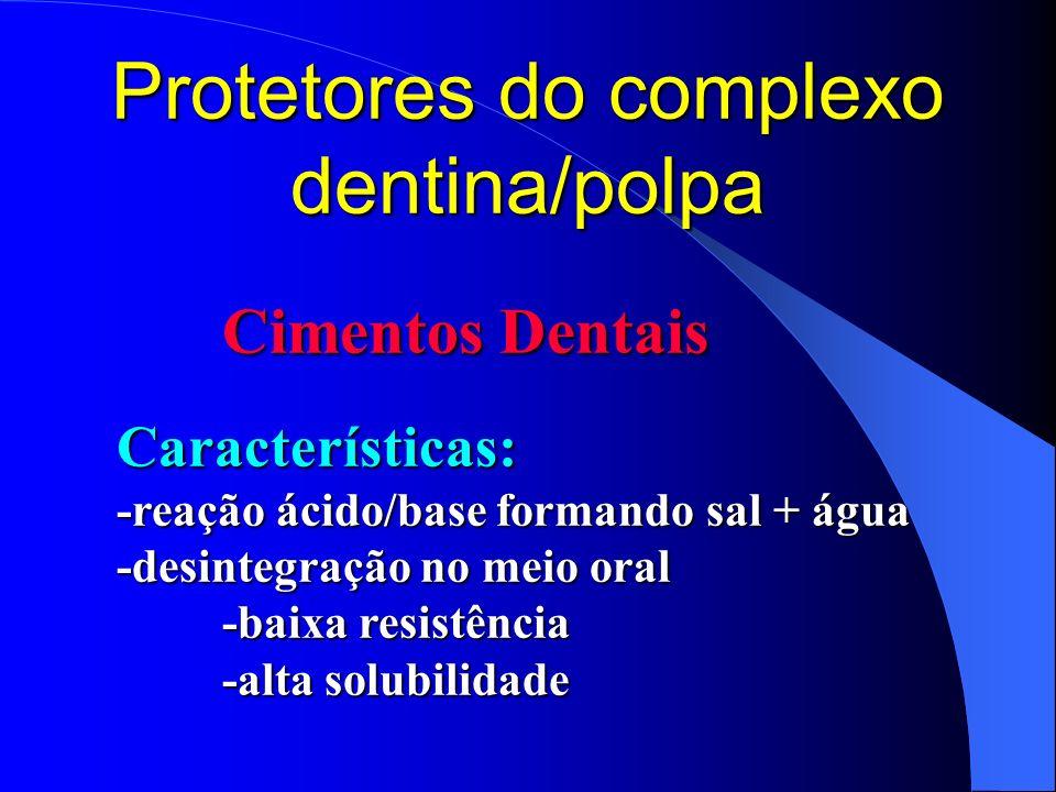 Protetores do complexo dentina/polpa Cimentos Dentais Características: -reação ácido/base formando sal + água -desintegração no meio oral -baixa resis