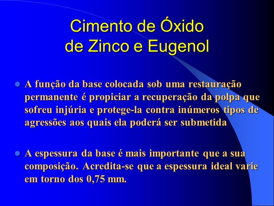 Cimento de Óxido de Zinco e Eugenol A função da base colocada sob uma restauração permanente é propiciar a recuperação da polpa que sofreu injúria e p