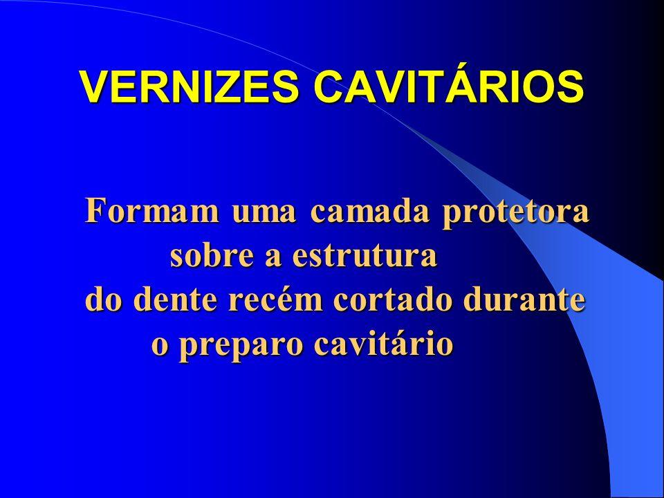 VERNIZES CAVITÁRIOS Formam uma camada protetora sobre a estrutura sobre a estrutura do dente recém cortado durante o preparo cavitário
