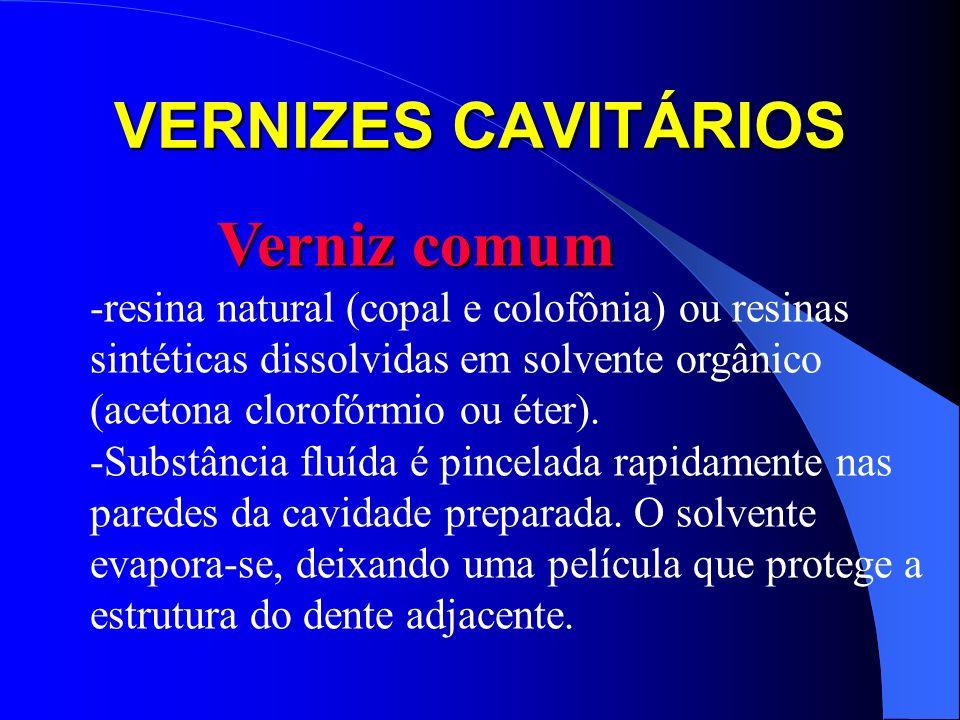 VERNIZES CAVITÁRIOS Verniz comum Verniz comum -resina natural (copal e colofônia) ou resinas sintéticas dissolvidas em solvente orgânico (acetona clor