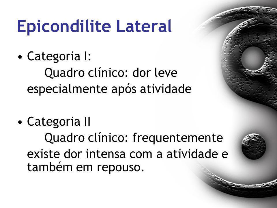 Epicondilite Lateral Categoria I: Quadro clínico: dor leve especialmente após atividade Categoria II Quadro clínico: frequentemente existe dor intensa