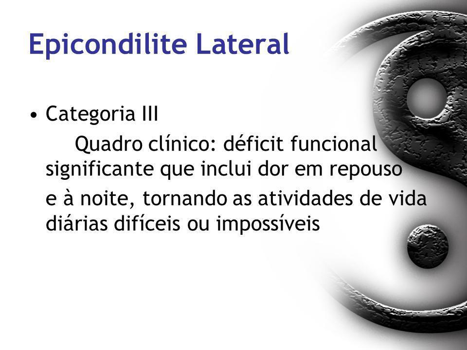 Epicondilite Lateral Categoria III Quadro clínico: déficit funcional significante que inclui dor em repouso e à noite, tornando as atividades de vida