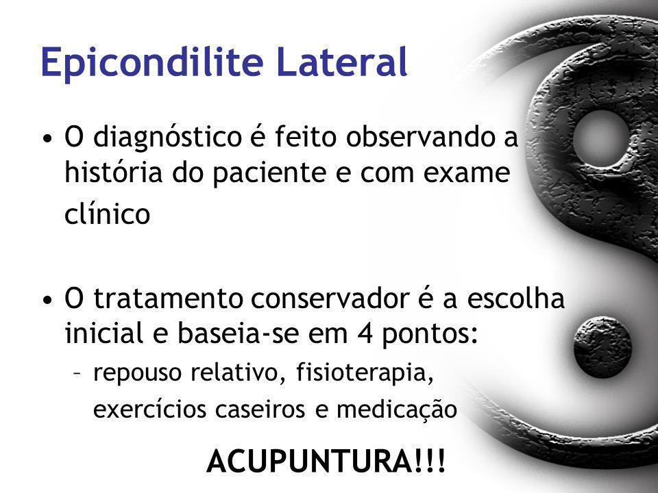 Epicondilite Lateral O diagnóstico é feito observando a história do paciente e com exame clínico O tratamento conservador é a escolha inicial e baseia