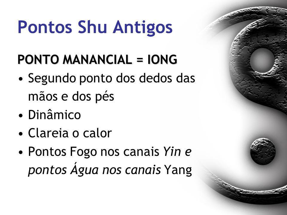 Pontos Shu Antigos PONTO MANANCIAL = IONG Segundo ponto dos dedos das mãos e dos pés Dinâmico Clareia o calor Pontos Fogo nos canais Yin e pontos Água