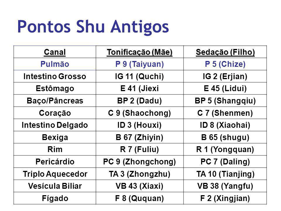 Pontos Shu Antigos Canal Tonificação (Mãe) Sedação (Filho) PulmãoP 9 (Taiyuan)P 5 (Chize) Intestino GrossoIG 11 (Quchi)IG 2 (Erjian) EstômagoE 41 (Jie