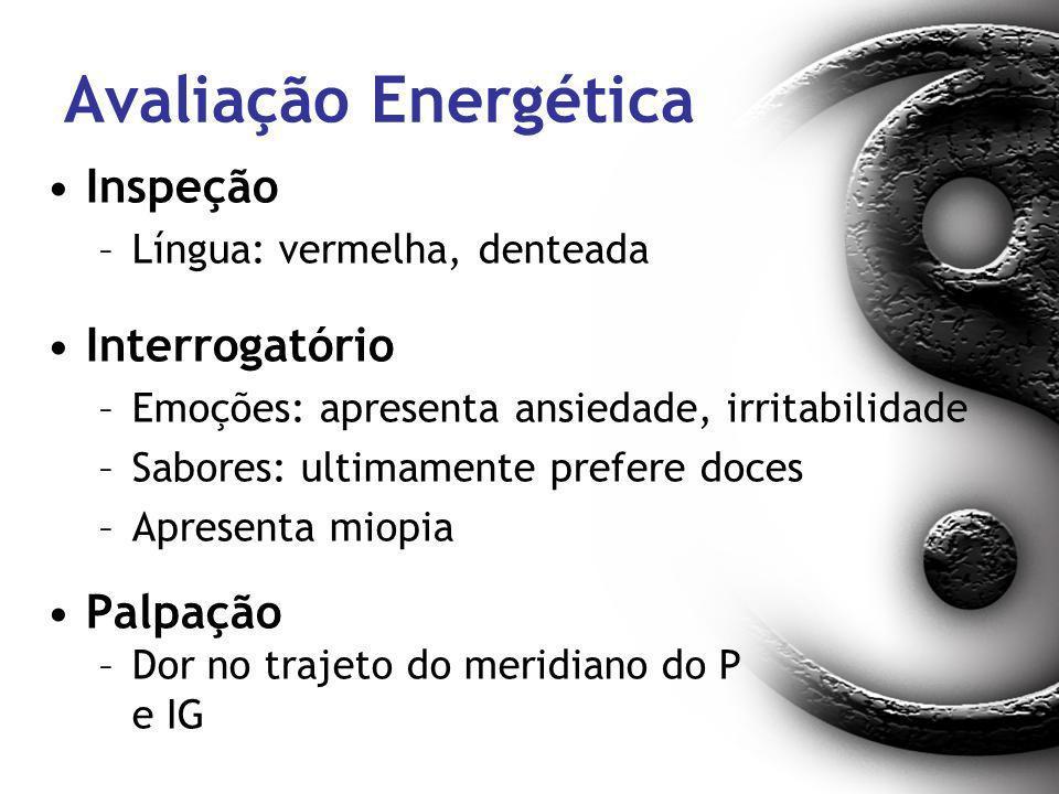 Avaliação Energética Inspeção –Língua: vermelha, denteada Interrogatório –Emoções: apresenta ansiedade, irritabilidade –Sabores: ultimamente prefere d