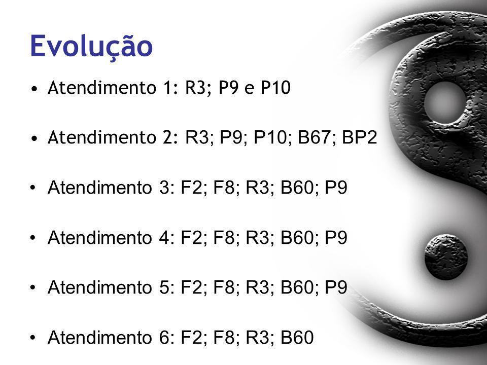 Evolução Atendimento 1: R3; P9 e P10 Atendimento 2: R3; P9; P10; B67; BP2 Atendimento 3: F2; F8; R3; B60; P9 Atendimento 4: F2; F8; R3; B60; P9 Atendi