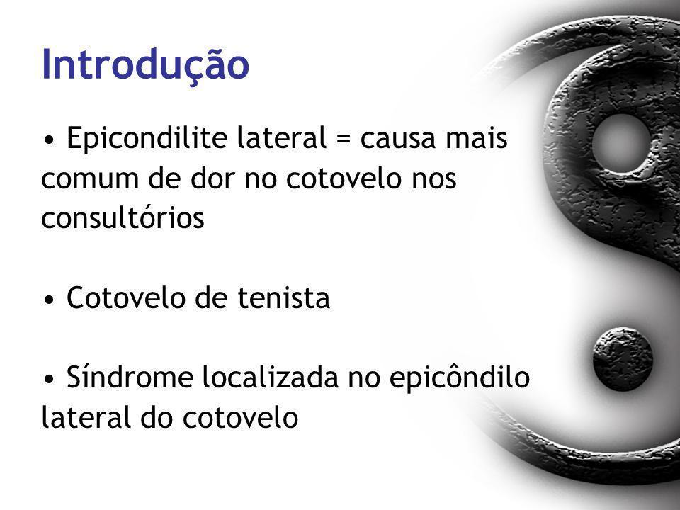 Introdução Epicondilite lateral = causa mais comum de dor no cotovelo nos consultórios Cotovelo de tenista Síndrome localizada no epicôndilo lateral d
