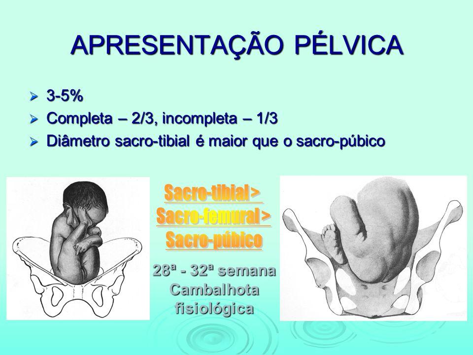 APRESENTAÇÃO PÉLVICA 3-5% 3-5% Completa – 2/3, incompleta – 1/3 Completa – 2/3, incompleta – 1/3 Diâmetro sacro-tibial é maior que o sacro-púbico Diâm