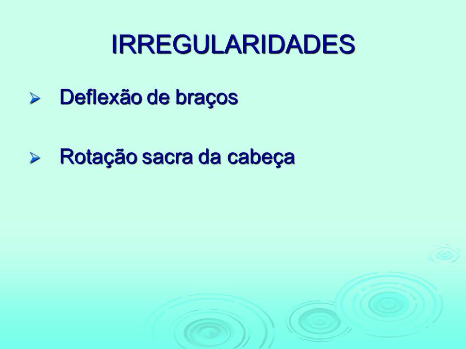IRREGULARIDADES Deflexão de braços Deflexão de braços Rotação sacra da cabeça Rotação sacra da cabeça
