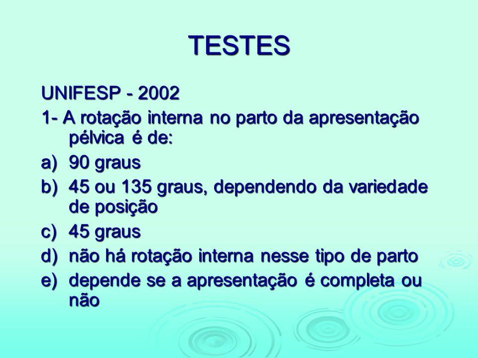 TESTES UNIFESP - 2002 1- A rotação interna no parto da apresentação pélvica é de: a)90 graus b)45 ou 135 graus, dependendo da variedade de posição c)4