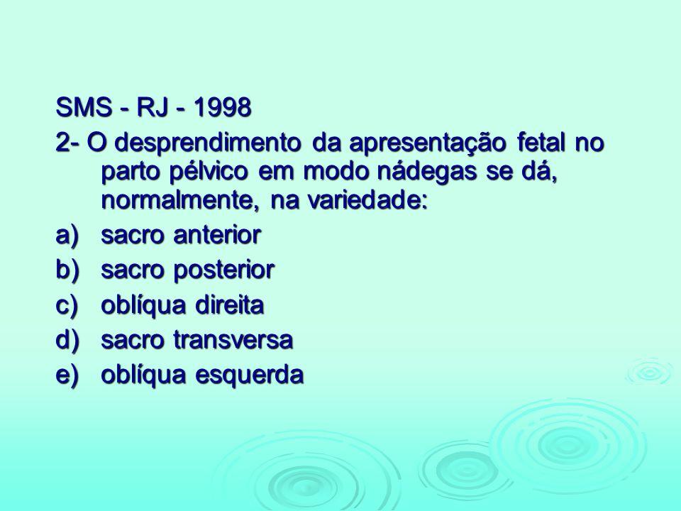 SMS - RJ - 1998 2- O desprendimento da apresentação fetal no parto pélvico em modo nádegas se dá, normalmente, na variedade: a)sacro anterior b)sacro