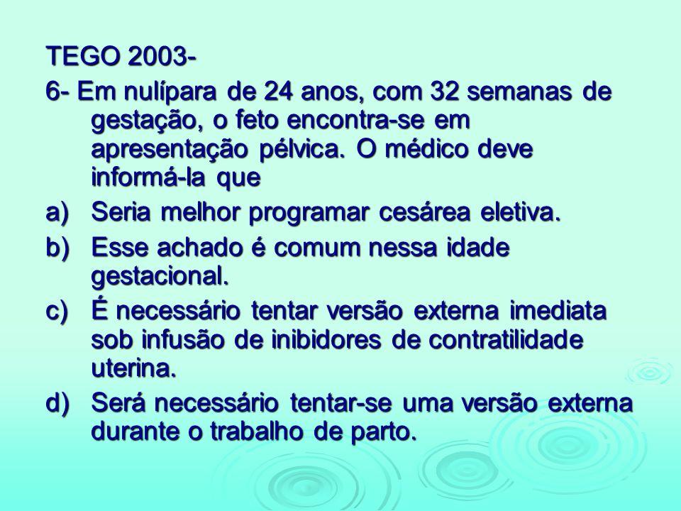 TEGO 2003- 6- Em nulípara de 24 anos, com 32 semanas de gestação, o feto encontra-se em apresentação pélvica. O médico deve informá-la que a)Seria mel