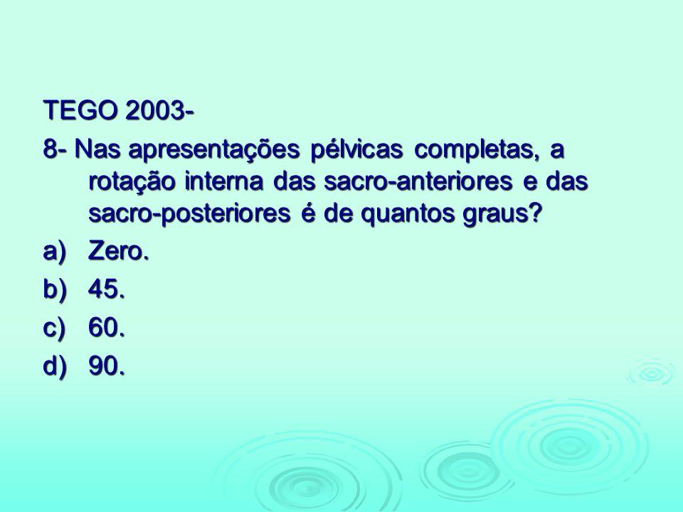 TEGO 2003- 8- Nas apresentações pélvicas completas, a rotação interna das sacro-anteriores e das sacro-posteriores é de quantos graus? a)Zero. b)45. c