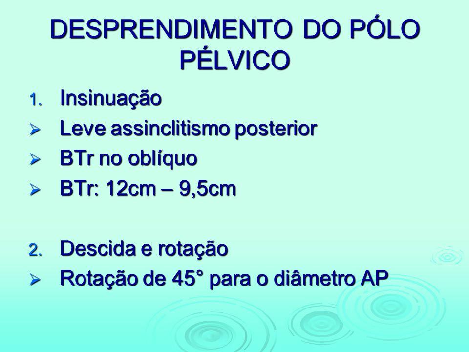 DESPRENDIMENTO DO PÓLO PÉLVICO 1. Insinuação Leve assinclitismo posterior Leve assinclitismo posterior BTr no oblíquo BTr no oblíquo BTr: 12cm – 9,5cm