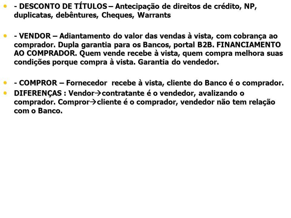 - DESCONTO DE TÍTULOS – Antecipação de direitos de crédito, NP, duplicatas, debêntures, Cheques, Warrants - DESCONTO DE TÍTULOS – Antecipação de direi
