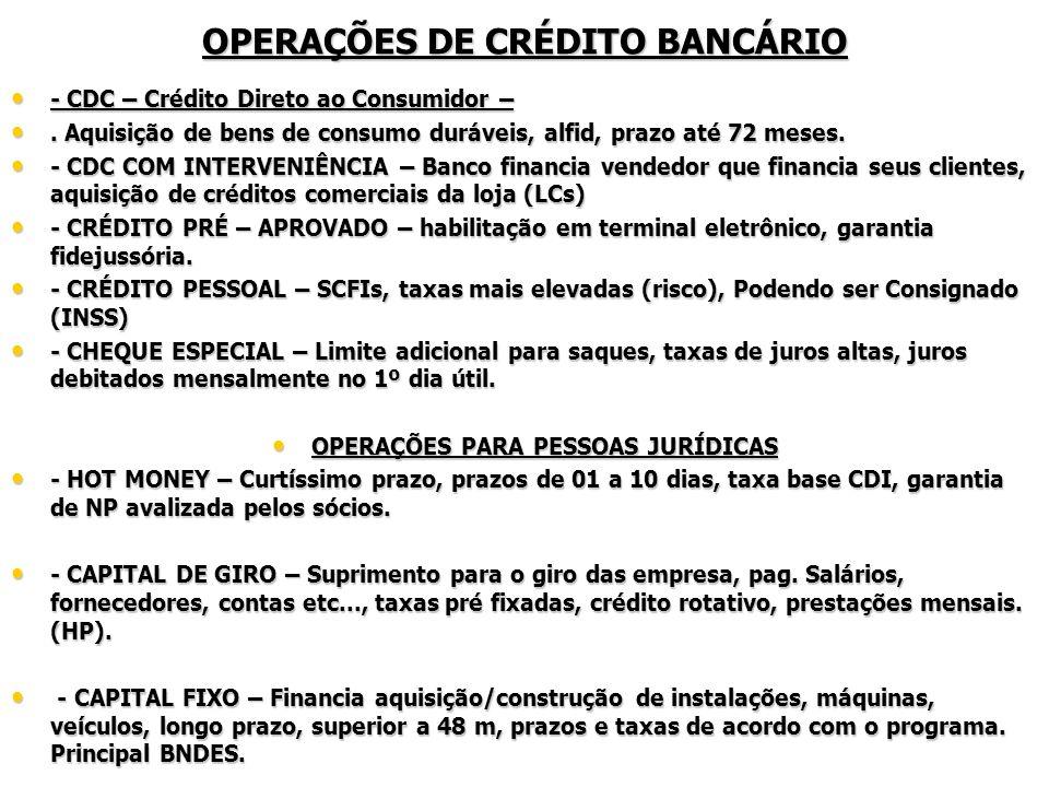- DESCONTO DE TÍTULOS – Antecipação de direitos de crédito, NP, duplicatas, debêntures, Cheques, Warrants - DESCONTO DE TÍTULOS – Antecipação de direitos de crédito, NP, duplicatas, debêntures, Cheques, Warrants - VENDOR – Adiantamento do valor das vendas à vista, com cobrança ao comprador.